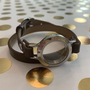 Origami Owl brown leather wrap bracelet